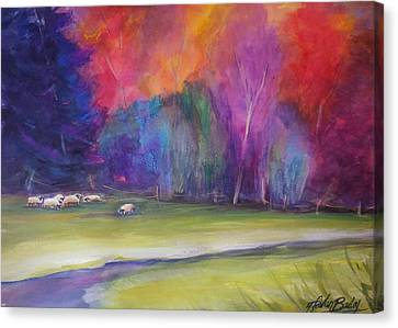 Peaceful Pastoral Sheep Canvas Print by Therese Fowler-Bailey