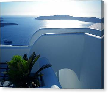 Canvas Print featuring the photograph Peaceful Sunset Santorini by Colette V Hera  Guggenheim