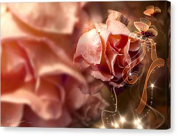 Peach Roses And Ribbons Canvas Print by Svetlana Sewell