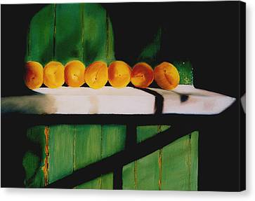 Peaches On A Ledge Canvas Print by Elise Okrend