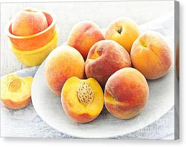 Peaches On Plate Canvas Print