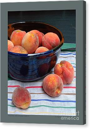 Peaches With Striped Cloth-ii Canvas Print by Patricia Overmoyer