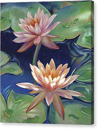 Peachy Pink Nymphaea Water Lilies Canvas Print