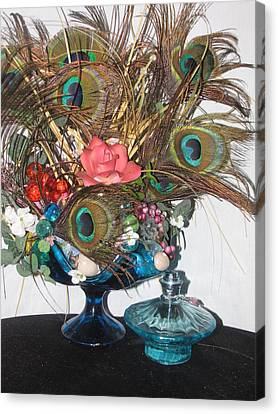 Peacock Feather Center Piece In Blue Glass Canvas Print by HollyWood Creation By linda zanini