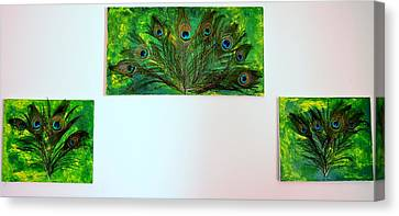 Peacock Feather Trio Canvas Print by Evelyn SPATZ