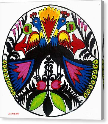 Peacock Tree Polish Folk Art Canvas Print by Ania M Milo