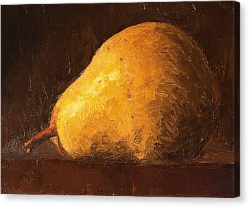 Pear By Knife Canvas Print