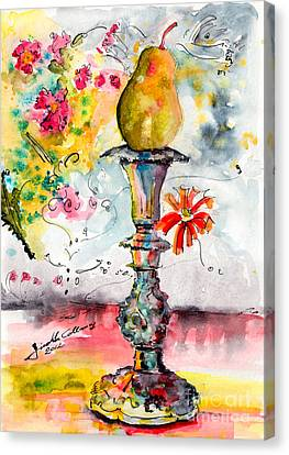 Pear On Candle Stick Canvas Print by Ginette Callaway