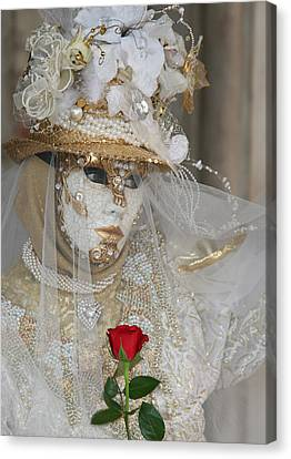 Pearl Bride With Rose 2 Canvas Print
