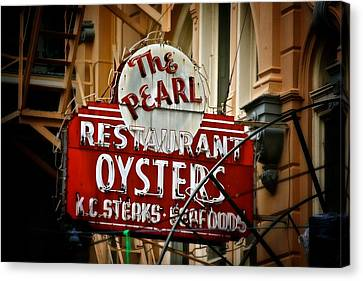 Canvas Print featuring the photograph Pearl Restaurant Sign by Jim Albritton