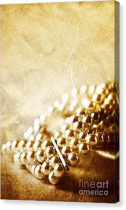 Gold Bracelet Canvas Print - Pearls by HD Connelly