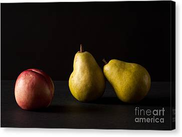 Pears And Peach Canvas Print by Catherine Lau