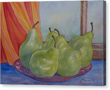 Pears At The Window Canvas Print by Laurel Thomson