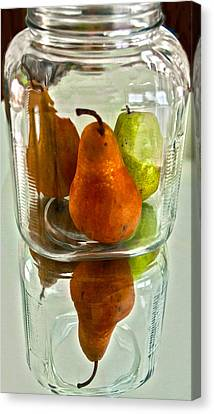 Pears In A Jar Canvas Print by Susi Stroud