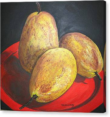 Pears On Red Plate Canvas Print