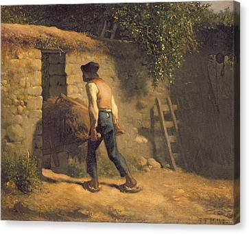Peasant With A Wheelbarrow Canvas Print by Jean-Francois Millet