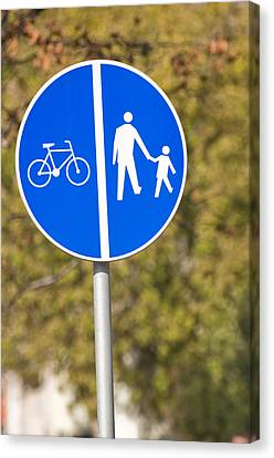 Pedestrian And Bicycle Crossing Sign. Canvas Print by Fernando Barozza