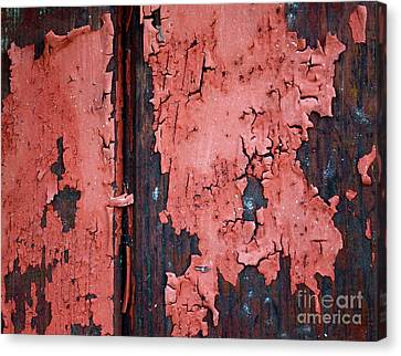 Peeling Red Paint Canvas Print by Gwyn Newcombe