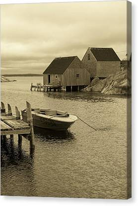 Peggys Cove In Sepia Canvas Print by Richard Bryce and Family