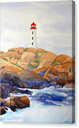 Canvas Print featuring the painting Peggy's Cove by Laurel Best