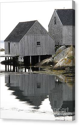 Peggy's Cove Sheds Canvas Print by Louise Peardon