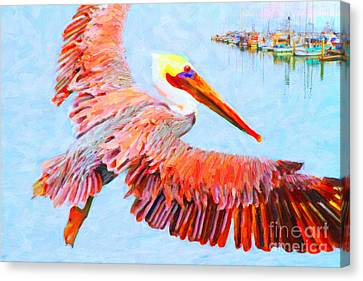 Pelican Flying Back To The Docks Canvas Print by Wingsdomain Art and Photography