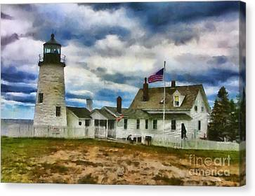 Pemaquid Point Lighthouse In Maine Canvas Print by Mary Warner