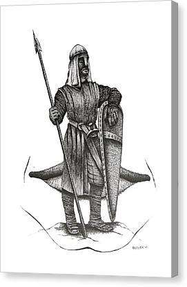 Pen And Ink Drawing Of The Guardian Canvas Print by Mario Perez