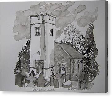 Pen And Ink-llanarthne Church-01 Canvas Print by Pat Bullen-Whatling