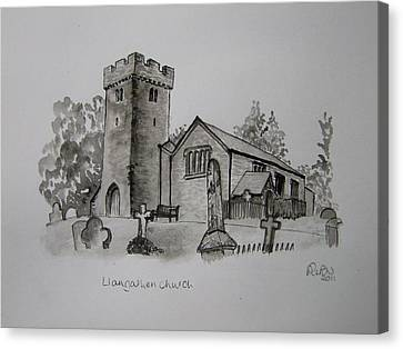 Pen And Ink-llangathen Church-01 Canvas Print by Pat Bullen-Whatling