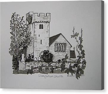 Pen And Ink-llangathen Church-02 Canvas Print by Pat Bullen-Whatling