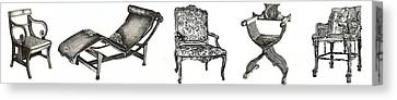 Pen And Ink Poster Of Chairs Canvas Print by Adendorff Design