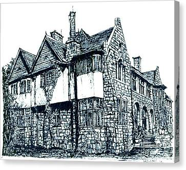 Pen And Ink Stone House  Canvas Print by Adendorff Design