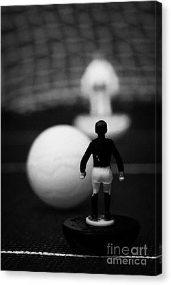 Penalty Kick Football Soccer Scene Reinacted With Subbuteo Table Top Football Players Game Canvas Print by Joe Fox