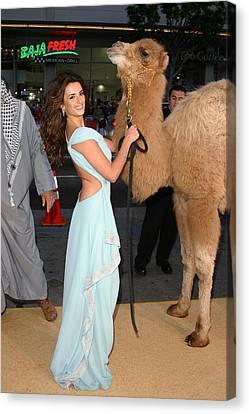 Penelope Cruz, Camel At Arrivals Canvas Print by Everett