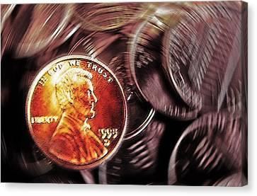 Pennies Abstract 3 Canvas Print by Steve Ohlsen