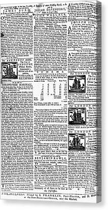Pennsylvania Gazette, C1749 Canvas Print by Granger