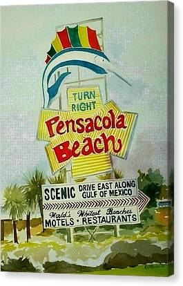 Canvas Print featuring the painting Pensacola Beach Sign by Richard Willows