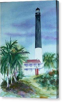 Canvas Print featuring the painting Pensacola Lighthouse by Richard Willows