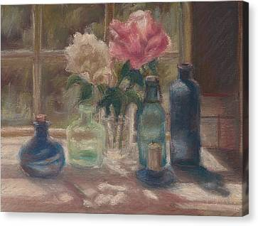 Peonies And Bottles Canvas Print by Rita Bentley