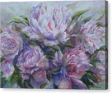 Peonies Canvas Print by Bonnie Goedecke