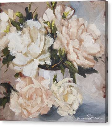 Peonies In White Vase Canvas Print
