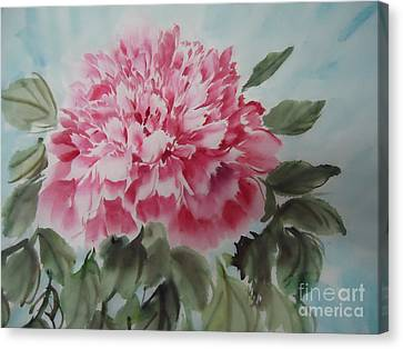 Canvas Print featuring the painting Peony --2--2012 by Dongling Sun