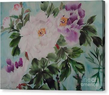 Canvas Print featuring the painting Peony Qiao --1 by Dongling Sun
