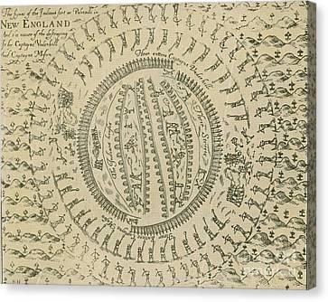 Pequot War Mystic Massacre 1637 Canvas Print by Photo Researchers