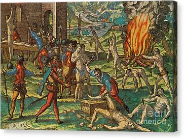 Persecution Of Native American Indians Canvas Print