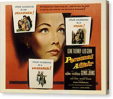 Personal Affair, Gene Tierney, 1953 Canvas Print by Everett