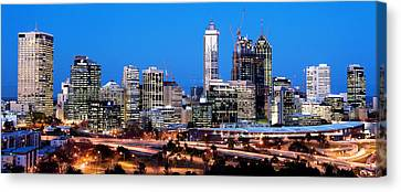 Canvas Print featuring the photograph Perth City Night View From Kings Park by Yew Kwang