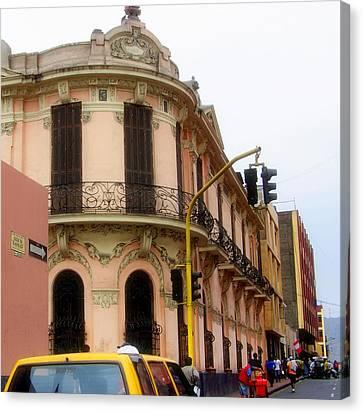 Peruvian Streets Canvas Print by Karen Wiles