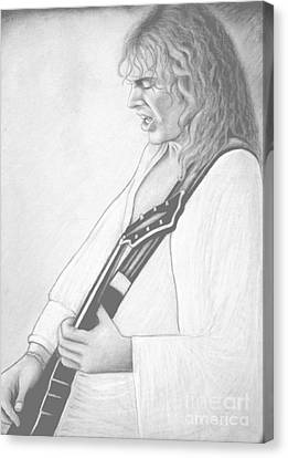 Peter Frampton Black And White Canvas Print by Denise Haddock